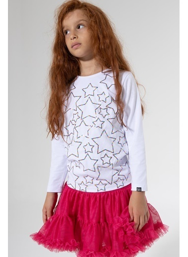 Colorinas Stars Payetli Sweatshirt Beyaz Beyaz